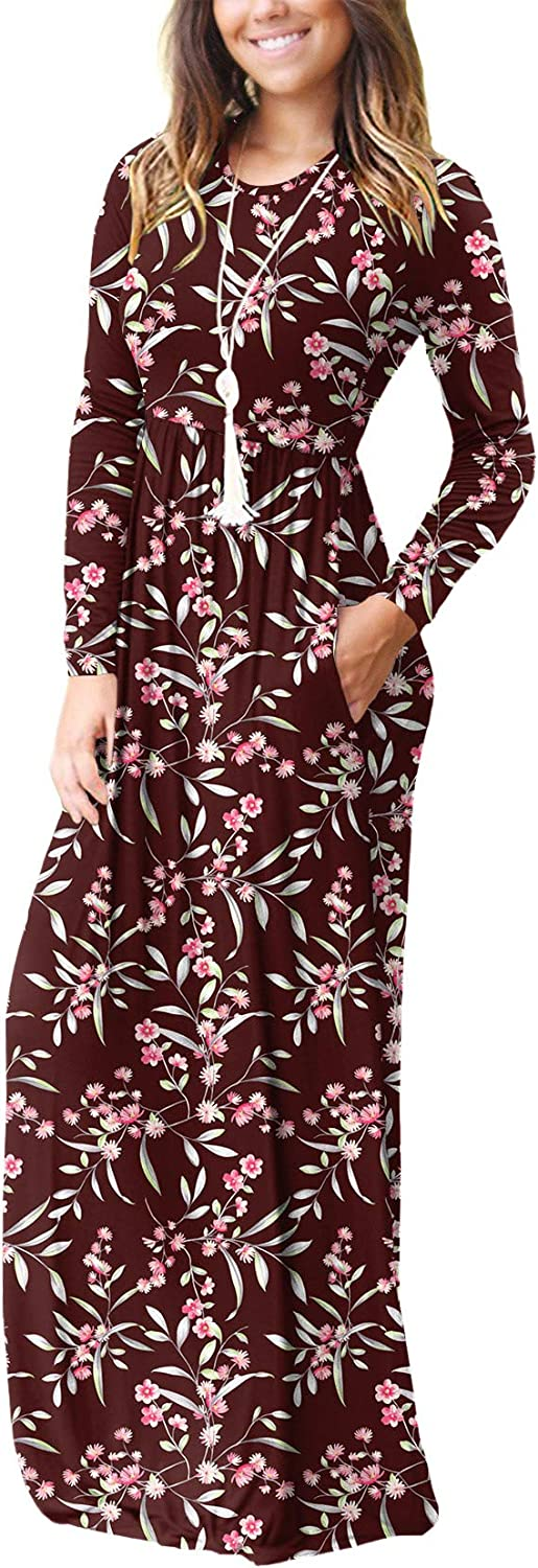 VIISHOW Women's Long Sleeve Loose Plain Empire Waist Maxi Dresses Casual Long Dresses with Pockets at  Women's Clothing store