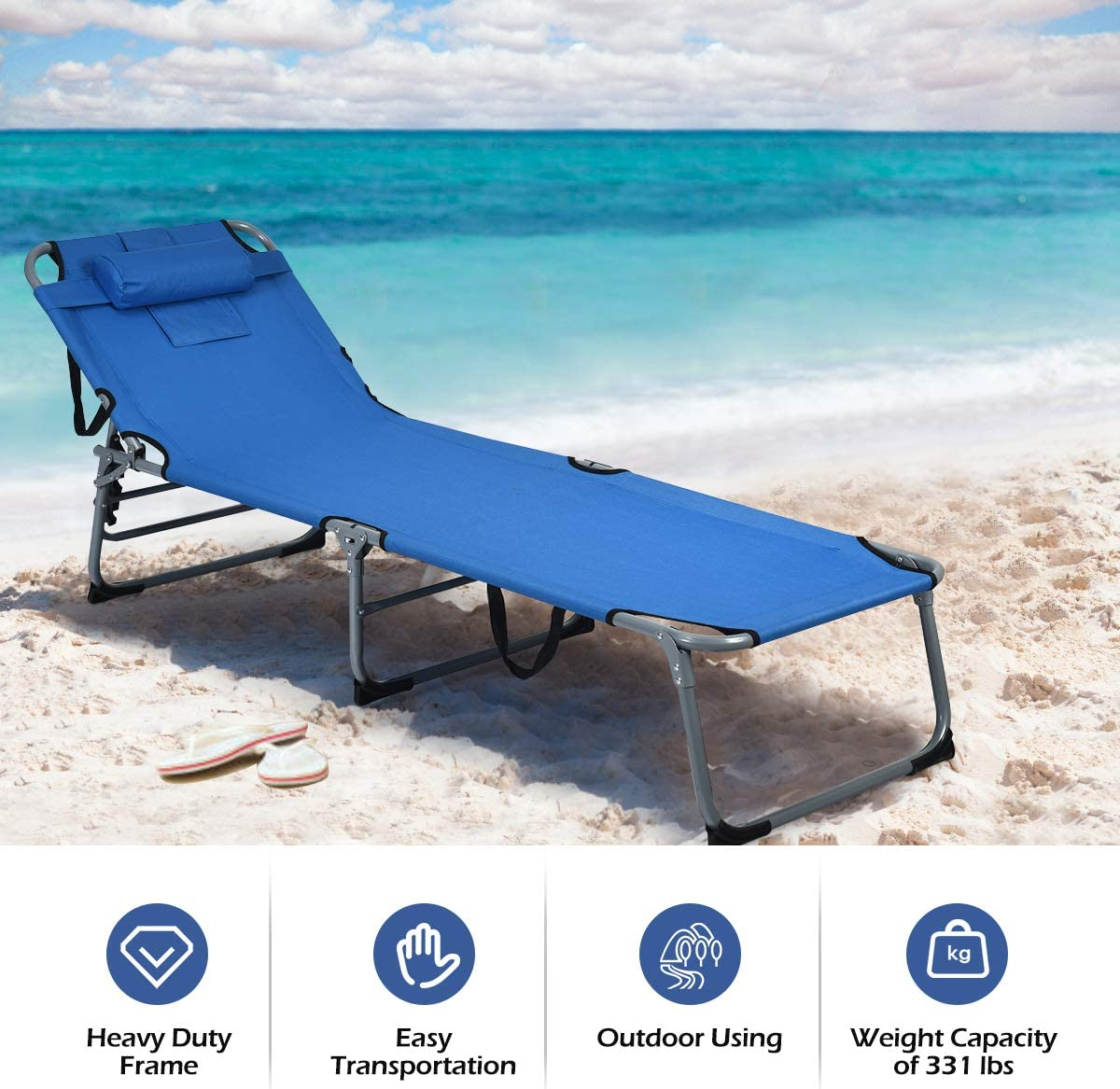 GYMAX Beach Chaise Lounge Blue Portable Folding Cot for Beach Patio Backyard Adjustabel Folding Sunbathing Recliner with Face Hole /& Removable Pillow