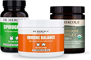 Dr. Mercola Immune Support Kit for Cats & Dogs, Immune Balance, Organic Mushroom Complex, SpiruGreen, Supports Immune and Digestive Health in Pets, Non GMO, Gluten Free, Soy Free