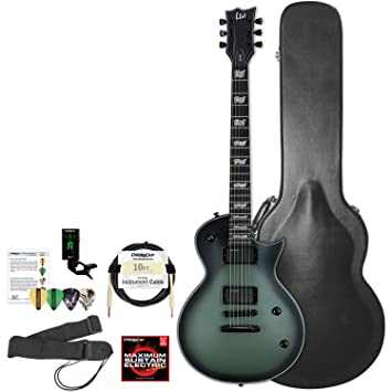 Esp Bill kelliher firma guitarra eléctrica, satinado, de madera de verde militar con ChromaCast duro caso y accesorios: Amazon.es: Instrumentos musicales