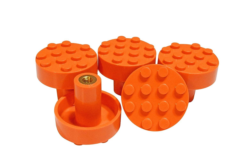 Blue Set of 5 Build-On Brick Knobs