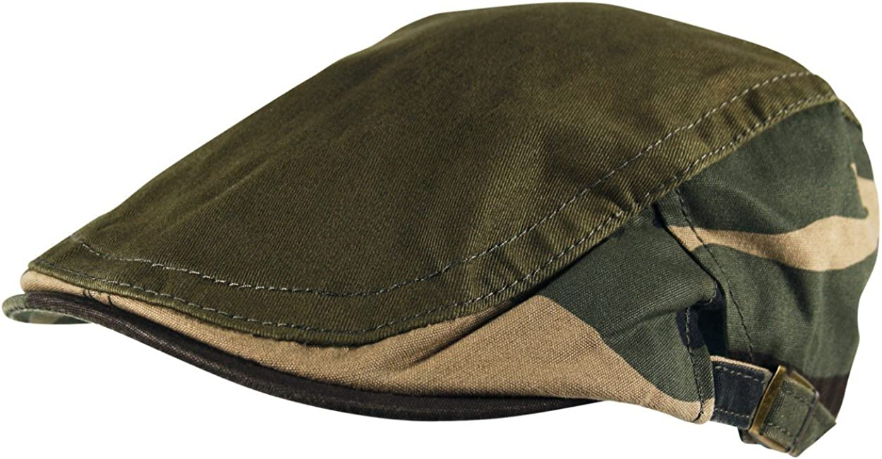 Itzu Adult Army Camouflage Adjustable Flat Cap Hat in Olive Green Camo Sides