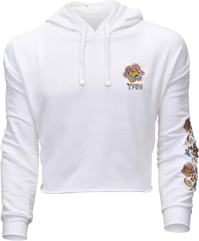 YUNY Men Pockets Fashionable Long Sleeve Floral Hoode Pullover Sweatshirt Black S