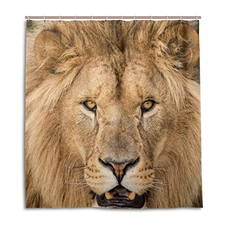 Amazon EVERUI Lion Shower Curtain With Hooks Treated To Resist