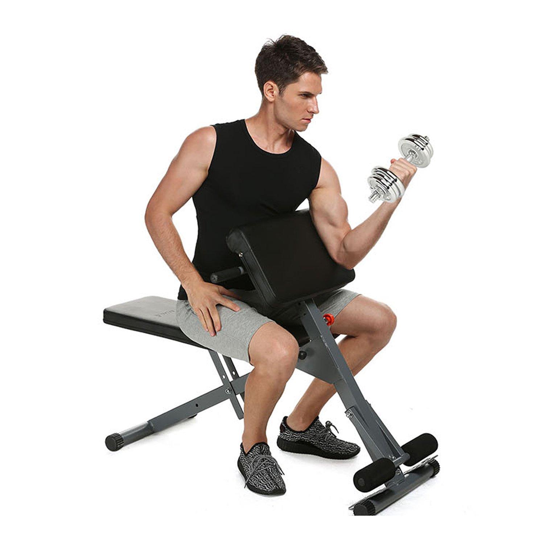 Maquina de Ejercicios Fitness Banco de Hiperextensiones Adjustable Taburete para Pesas Barras Mancuernas Musculación Abdominales en Interior Hogar ...