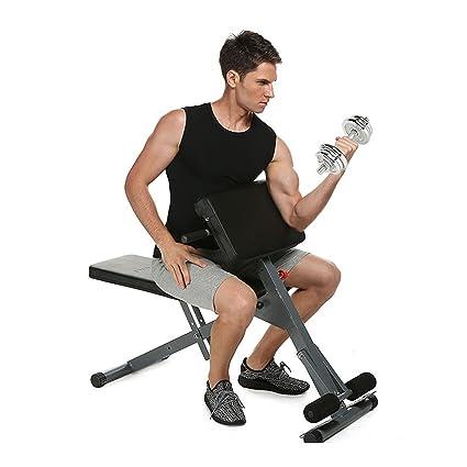Maquina de Ejercicios Fitness Banco de Hiperextensiones Adjustable Taburete para Pesas Barras Mancuernas Musculación Abdominales en