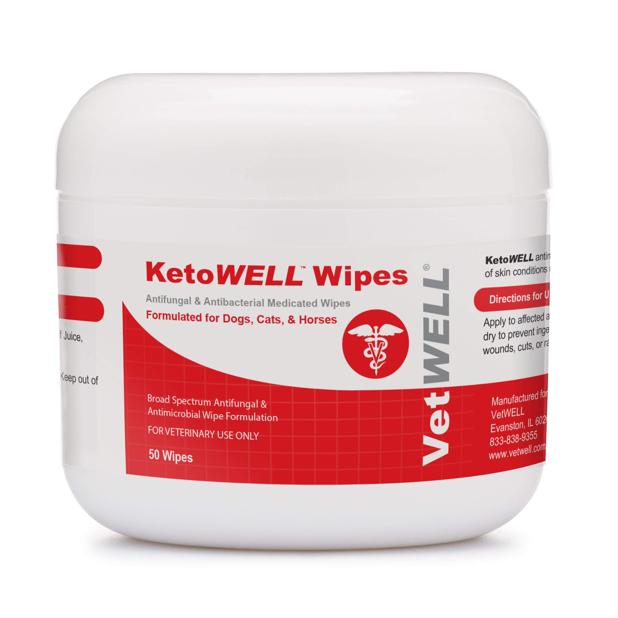 KetoWELL Chlorhexidine Wipes with Ketoconazole for Dogs & Cats Medicated Pet Wipes for Hot Spots, Infections, Acne & Pyoderma - 50 Count
