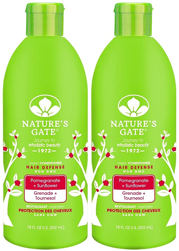 Nature's Gate Pomegranate Sunflower Hair Defense Conditioner, 18-Ounce Bottles (Pack of 2)
