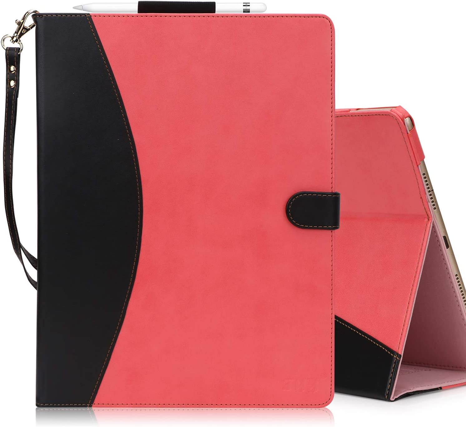 FYY [Leather Case] with [Apple Pencil Holder] for 2019 iPad Air 3 10.5/2017 iPad Pro 10.5 inch Case, Flip Folio Stand Case Protective with [Auto Sleep Wake],Multiple Stand Angles, Card Slots Magenta