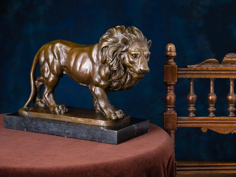 Bronze aubaho Statuette de Lion 10 kg//38 cm