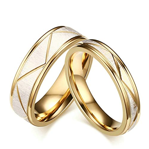 2dd2167099 Daesar Stainless Steel Rings for Women And Men Polished Gold Wedding Band Women  Size 5 & Men Size 10: Daesar: Amazon.ca: Jewelry