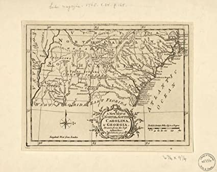 Vintage 1765 Map of A new map of North & South Carolina, & Georgia Georgia,  North Carolina, South Carolina, Southern States, United States