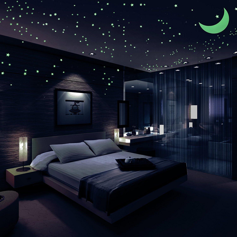 Sternenhimmel Aufkleber, Glühen Sternen 446, im Dunkeln leuchten Leuchtende Sterne, hellste leuchtende Sterne Aufkleber, Wandaufkleber für Kinder und Schlafzimmer, mit Sternbild Guide & Mond 1