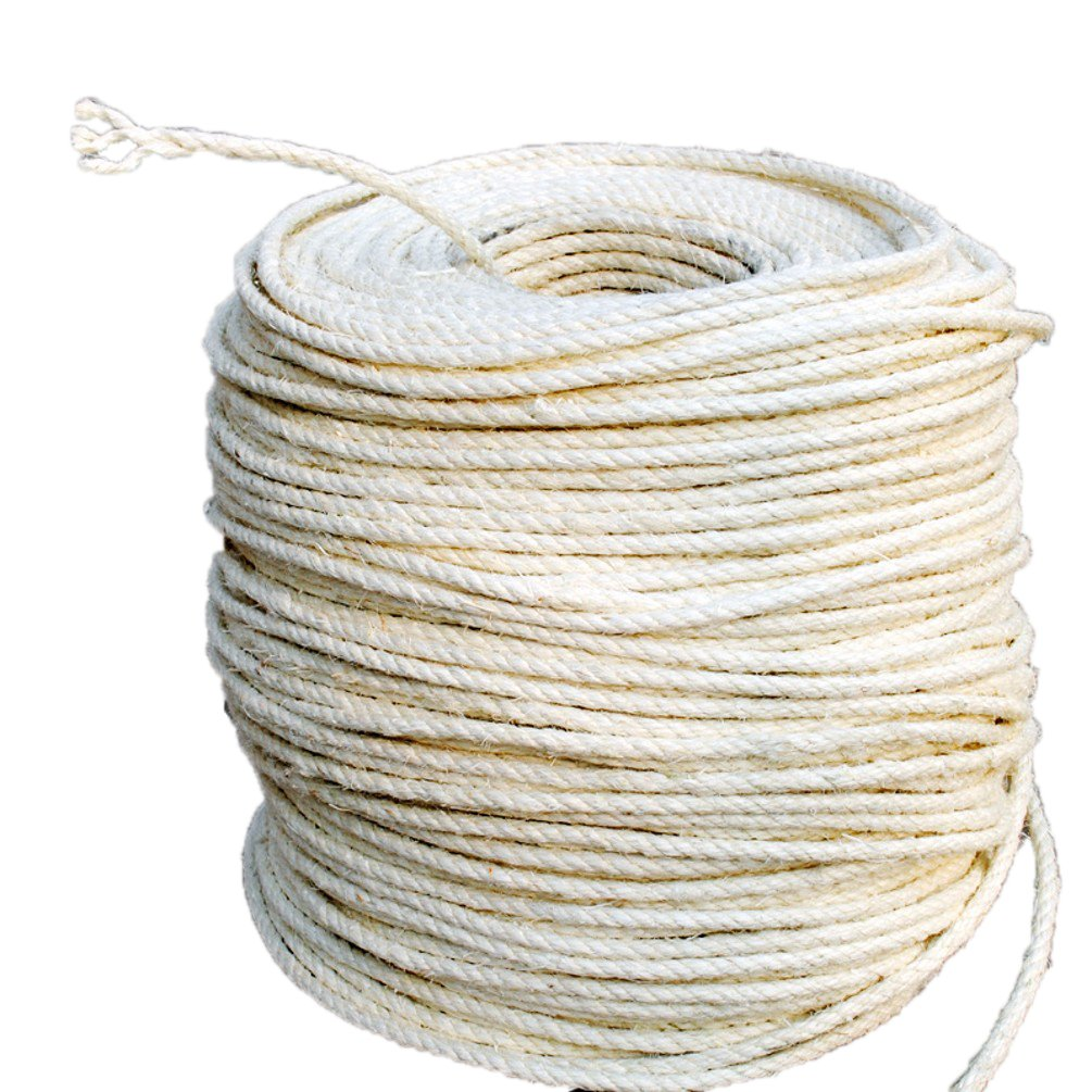 PET SHOW 65.6 Feet(20M) Diameter 6mm Cat Natural Twisted Sisal Rope For Cat Scratching Post Replacement Hemp Rope for Repairing Recovering or DIY Scratcher Twine String Durable for Cats Toys Gift