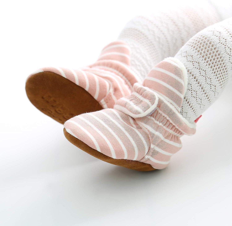 SOFMUO Unisex Baby Cozy Fleece Booties Newborn Boys Girls Plush Cotton Socks Soft Sole Warm Winter Infant Slippers Non-Slip Toddler Walking Shoes