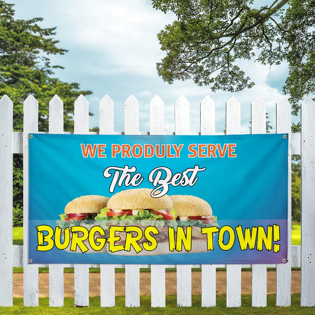 28inx70in Multiple Sizes Available 4 Grommets Marketing Advertising Blue Vinyl Banner Sign Proudly Serve The Best Burgers in Town Set of 2