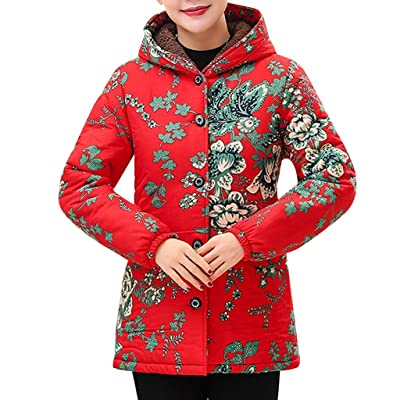 Sttech1 Overcoat for Older Women, Flower Printed Long Sleeves Hooded Winter Warm Oversized Jackets Coat: Clothing