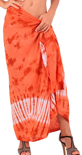 "e6973ca7bca3b6 LA LEELA Rayon Bathing Towel Women Wrap Sarong Tie Dye 78""X43""  Orange_4701"