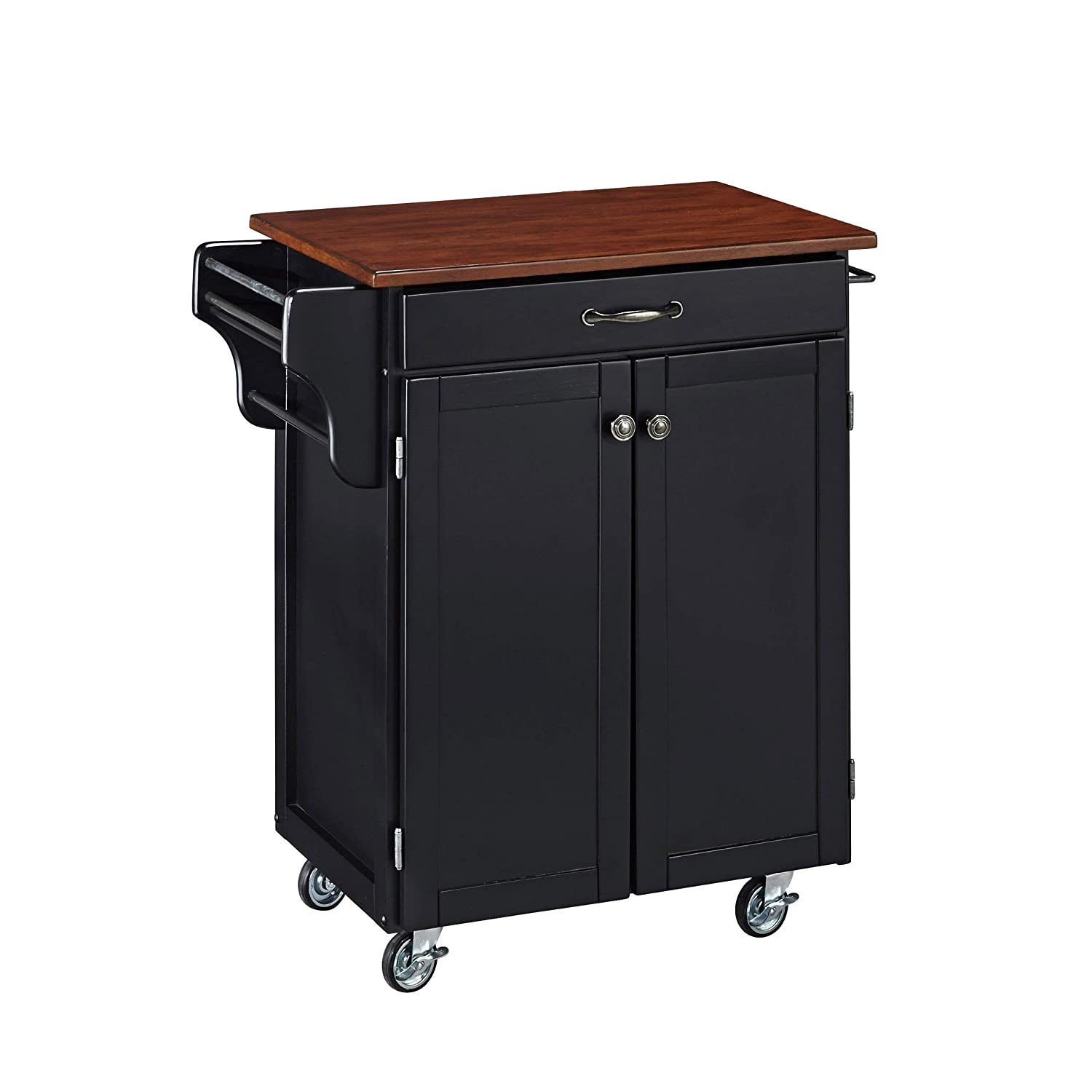 Home Styles Cuisine Cart, Black Finish with Cherry Top