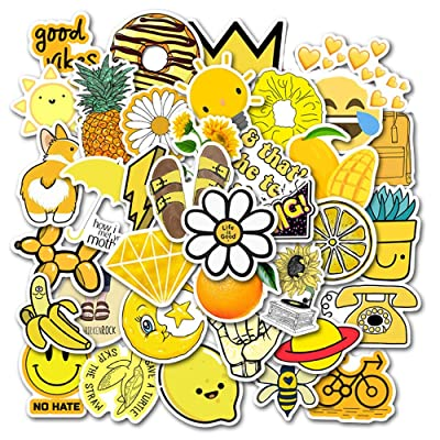 Vsco Stickers for Water Bottle Waterproof Aesthetic Trendy Vinyl Cute Yellow Stickers Perfect for Laptop Phone Luggage Car (50-Pack): Arts, Crafts & Sewing