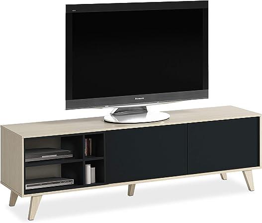 Habitdesign 0Z6635R - Mueble de TV, Acabado Color Roble y Gris Oscuro, Medidas 180 cm (Largo) x 54 cm (Alto) x 41 cm (Fondo): Amazon.es: Hogar