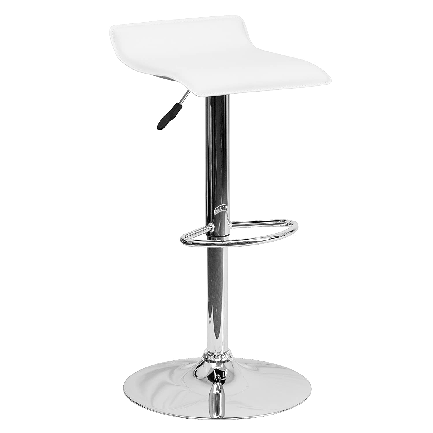 Flash Furniture Contemporary White Vinyl Adjustable Height Barstool with Solid Wave Seat and Chrome Base