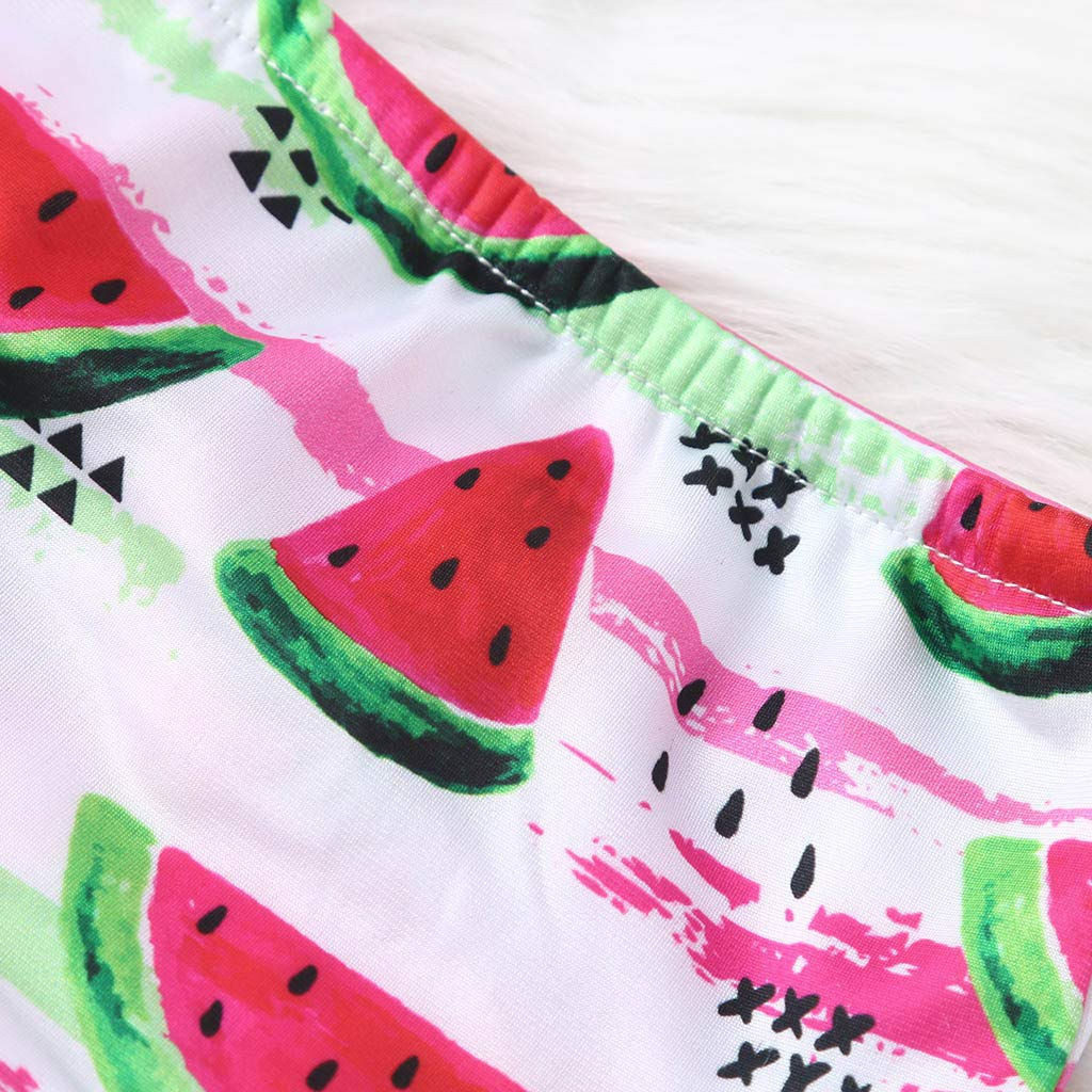 QixinWluo Kids Baby Girls Swimsuit Tassel Watermelon Print Summer Swimwear Bikini Tops+Shorts Headband Outfits