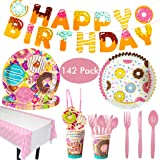Amycute 142 Pcs Donut Disposable Tableware Set, Donut Party Supplies,Party Plates Napkins Straws Cutlery Set,Baby Shower Birthday Party Favors Decorations Supplies