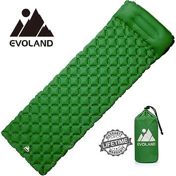 Evoland – Colchón de Camping Hinchable, colchón autoinflable colchón Inflable Playa Alfombra de Suelo de Camping Plegable de Aire colchón Almohada ...