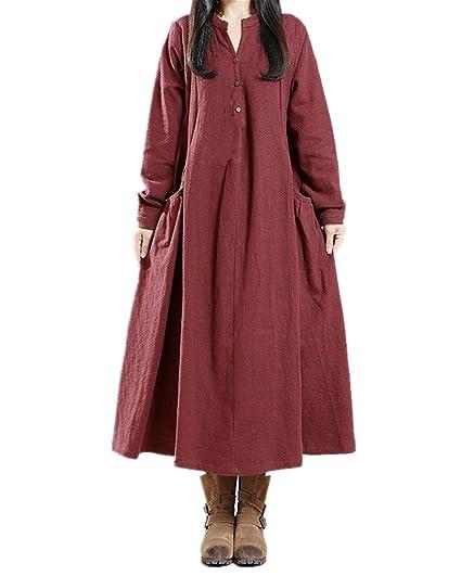 4b2f7f7e3a2 StyleDome Femme Vintage Robe Coton Longue Col Rond Manches Longues Casual  Lâce Large Tunique Robe Maxi  Amazon.fr  Vêtements et accessoires