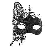 Coxeer Masquerade Mask Mardi Gras Metal Laser-cut Crystals Ball Prom Princess Venetian Mask
