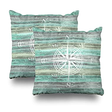 Soopat Decorative Pillow Cover Pack of 2, 18 X18  Two Sides Printed Rustic Coastal Decor Compass Rose Round Throw Pillow Cases Decorative Home Decor Indoor Nice Gift Kitchen Garden Sofa