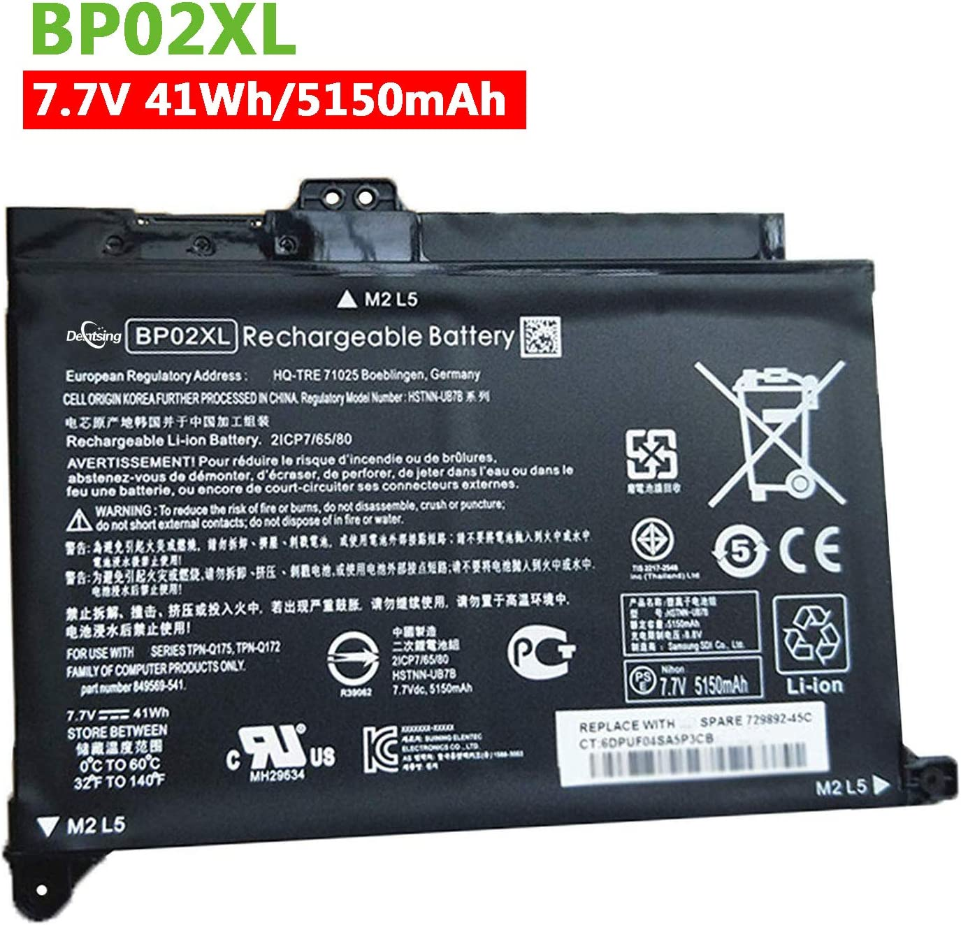 Dentsing Replacement BP02XL Laptop Battery Compatible HP Pavilion PC 15 15-AU000 15-AU010WM 15-AU018WM 15-AW000 Series HSTNN-UB7B HSTNN-LB7H 2ICP7/65/80 849569-421 849569-541 849569-542 7.7V 41Wh