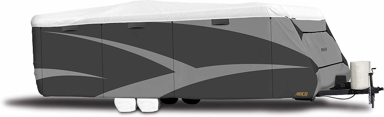 """ADCO34841 Designer Series Gray/White 20' 1"""" - 22' DuPont Tyvek Travel Trailer Cover"""