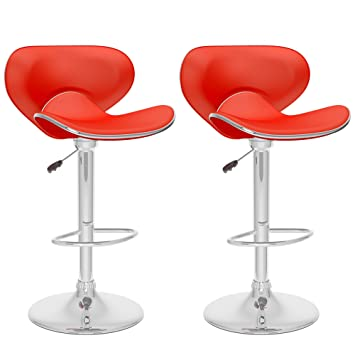 DCOR Design CorLiving Adjustable Height Bar Stool (Set Of 2) (Red)