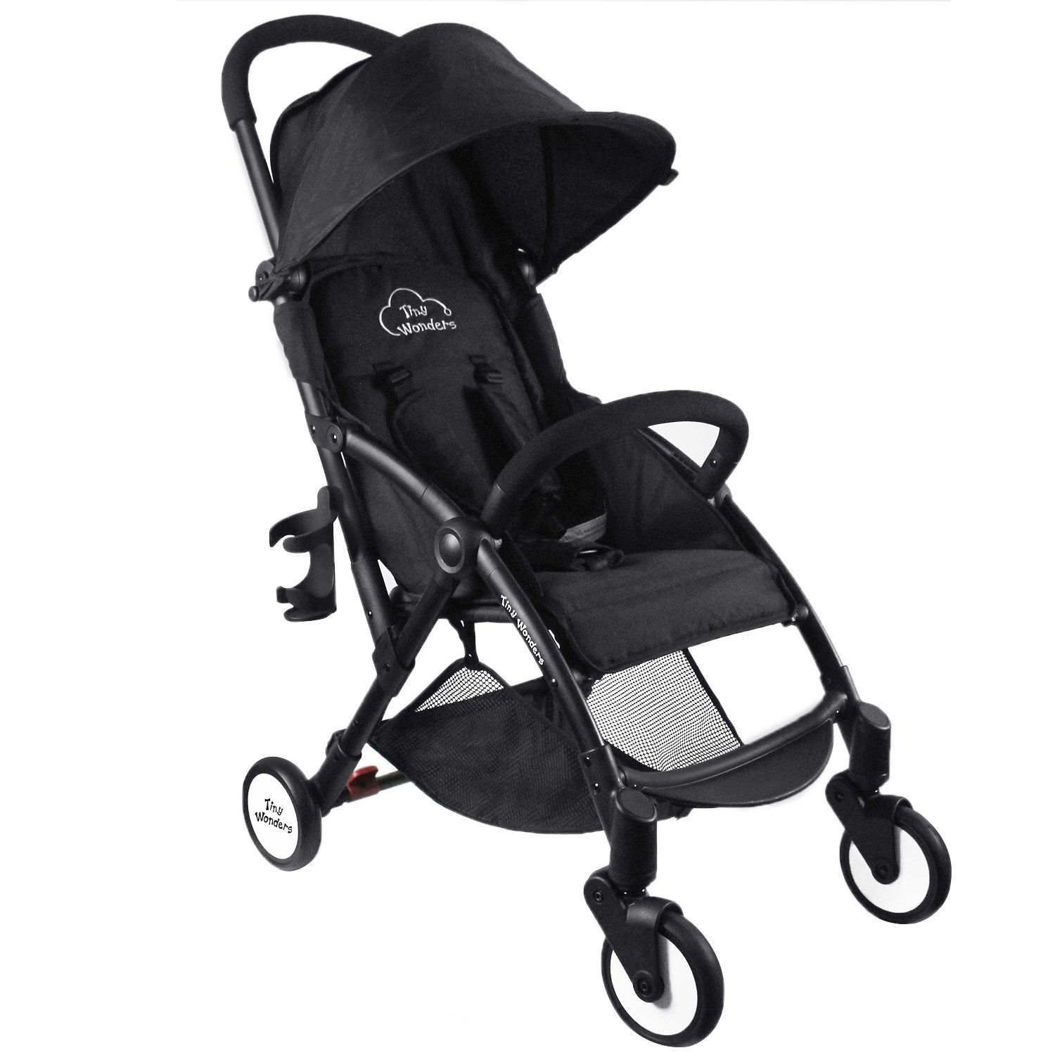 Tiny Wonders Black Lightweight Compact Baby Stroller, Portable Airplane Travel Carry On Strollers, Folding Umbrella Pram for 3, 6, 9 Month, 1, 2 Year Old Newborn, Infants, Toddlers, Boys, Girls