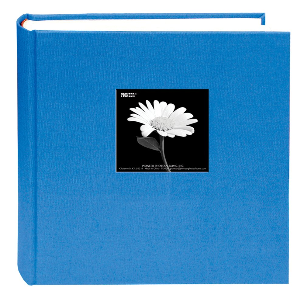 Fabric Frame Cover Photo Album 200 Pockets Hold 5x7 Photos, Sky Blue