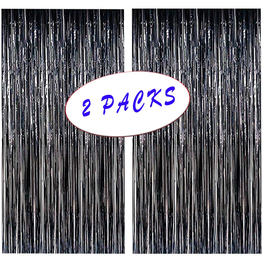 MeiGuiSha 2pcs 40in x 80in Photo Backdrop for Halloween Decor-Metallic Tinsel Foil Fringe Curtains Party Decorations(Black)
