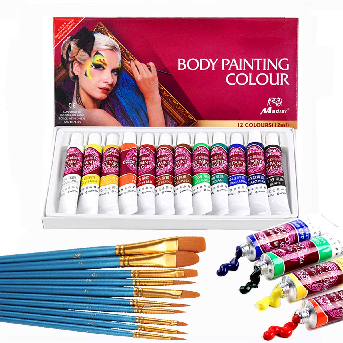 Face Paint Kit,12 Colors Professional Face Painting Tubes, Non-Toxic & Hypoallergenic Body Paint Halloween Makeup, Rich Pigment, Face Painting Kits with 10Pieces Round Pointed Tip Nylon Hair Brush