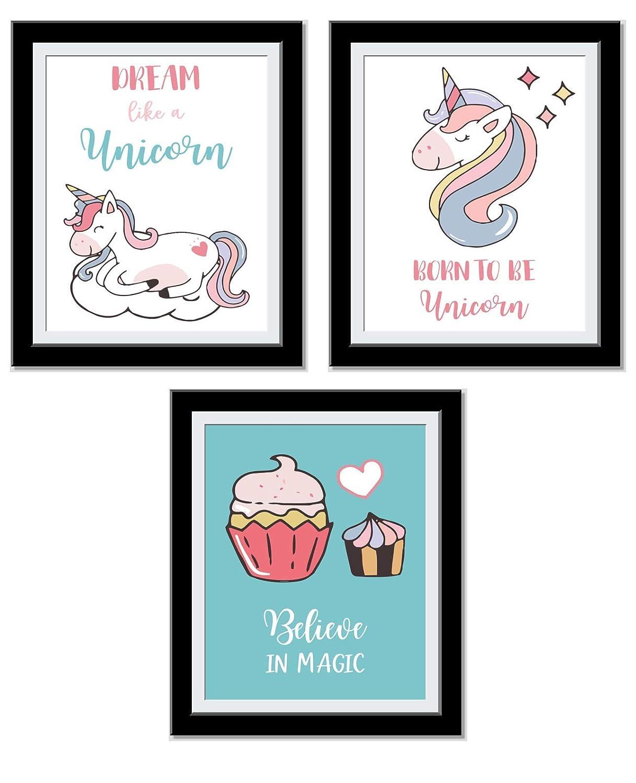 Unicorns Gifts For Girls - Unicorn Bedroom Decor For Girls - Dream like Unicorn, Born to be Unicorn, Believe in Magic - Set Of 3 8X10 Unframed Prints…