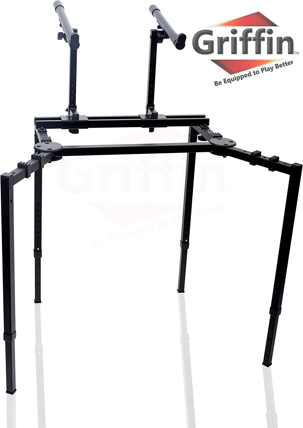 Double Piano Keyboard and Laptop Stand by Griffin | 2 Tier/Dual Portable Studio Mixer Rack for Turntables, DJ Coffins, Speakers, Audio Gear and Music Equipment | Deluxe & Versatile Steel Construction