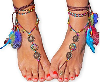 c0bc343b7da8 BAREFOOT SANDALS Rainbow MANDALA foot jewelry hippie sandals toe anklet  beaded crochet barefoot tribal sandals festival feather yoga wedding   Amazon.co.uk  ...