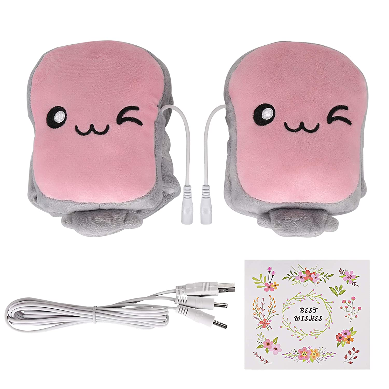 pink Toast USB Hand Warmers Cute USB Heating Gloves Half Wearable Fingerless
