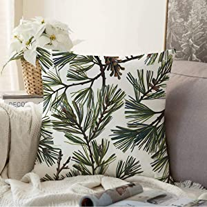 Decorative Throw Pillow Cover Green Botanical Floral Spruce Branches Pine Aroma Beauty Branch Cedar Celebration Christmas Color Cushion Cover for Sofa Home Decoration 18x18 Inch