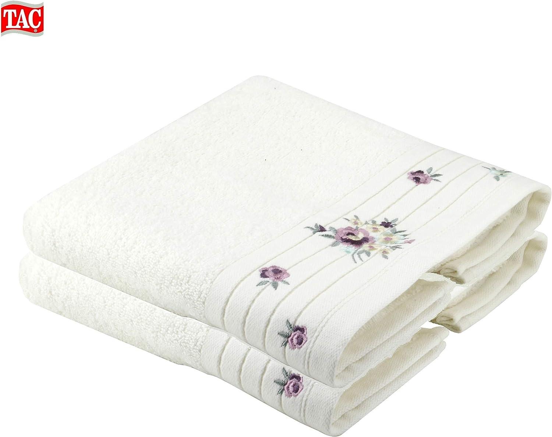 TAC con graziosi motivi floreali in cotone qualit/à Made in Turkey Set di 2 asciugamani da bagno colore verde//bianco ad asciugatura rapida assorbenti