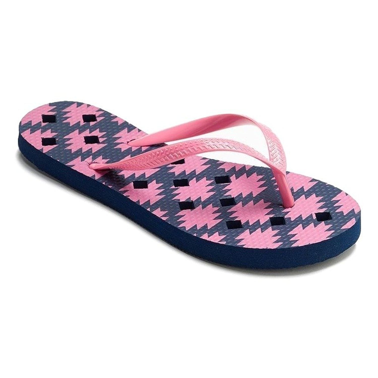 Simple By Design Women Antimicrobial Shower Flip Flop Shoes Water Sandals B01GK8XJVW Medium / 7-8 B(M) US|Pink & Navy Blue