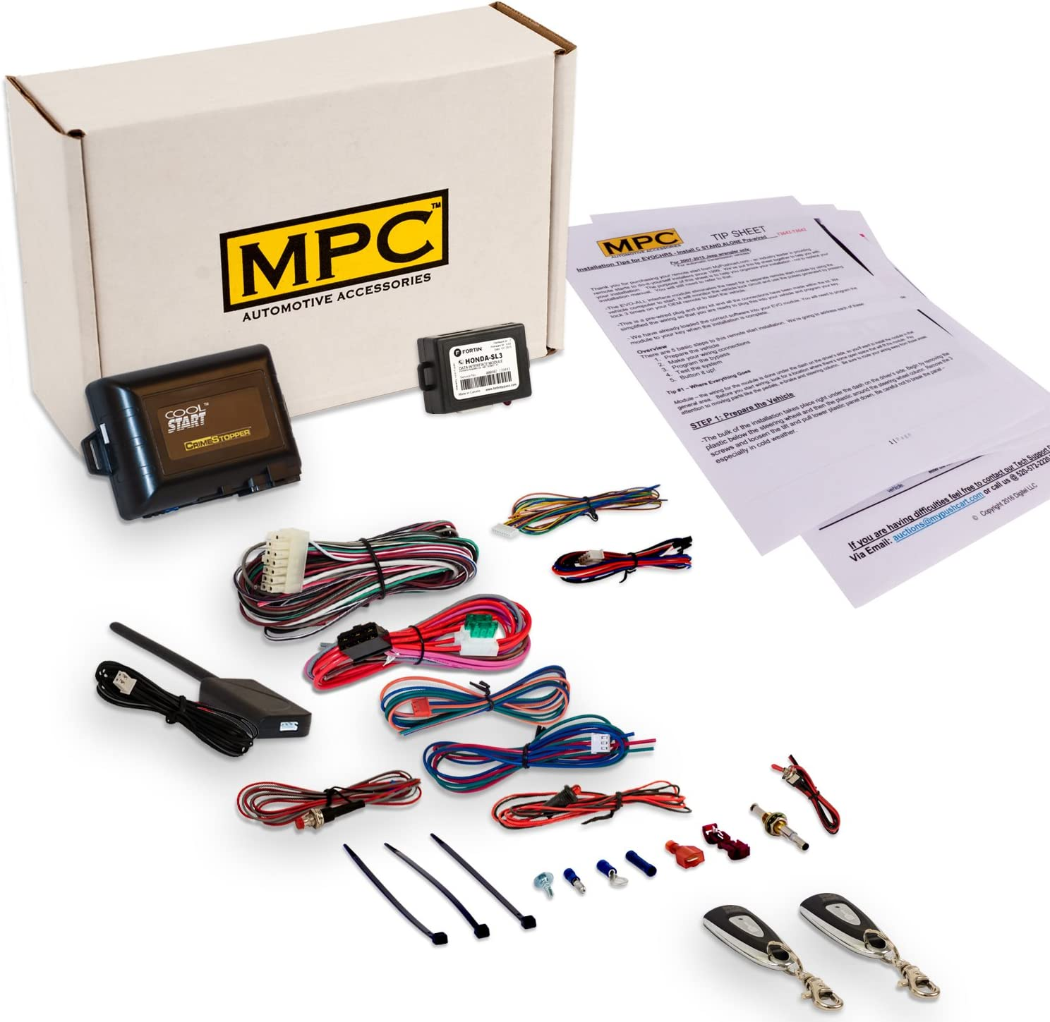 2 MPC Complete Up to 800 Range Key-to-Start Gas Includes USA Based Tech Support 1-Button Remote Starts with Keyless Entry Kit for 2003-2010 Honda Element 2 1-Button 1-Way Remotes