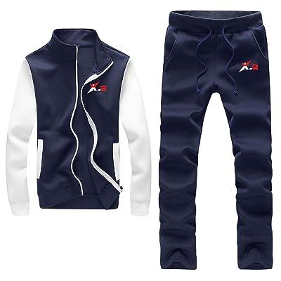 X-2 Athletic Full Zip Fleece Tracksuit Jogging Sweatsuit Activewear at Amazon Men's Clothing store