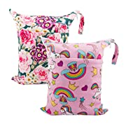 ALVABABY 2pcs Cloth Diaper Wet/Dry Bags|Waterproof Reusable with Two Zippered Pockets|Travel, Beach, Pool, Daycare, Soiled Baby Items,Yoga,Gym Bag for Swimsuits or Wet Clothes L7172