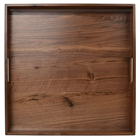 19 * 19 * 2inch Walnut Wood Tea Trays Decorative Square Serving Tray Cutting and Chopping Board Large Rectangle